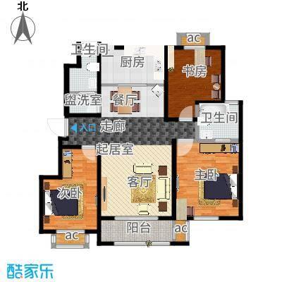 旭辉百合宫馆115.00㎡D3户型 3室2厅1卫户型3室2厅1卫-副本