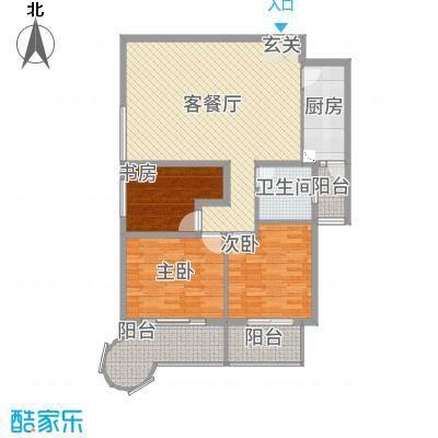 悦园豪庭11.40㎡P1户型2室2厅1卫1厨