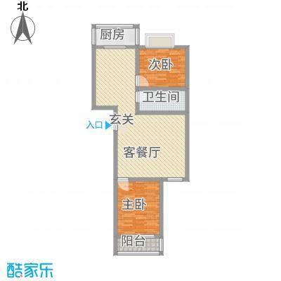 中铁绿洲8.42㎡户型2室2厅1卫1厨