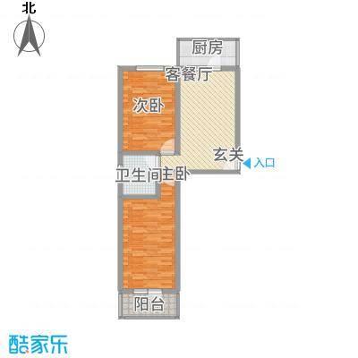 宝嘉龙庭88.00㎡1#楼A户型2室2厅1卫1厨