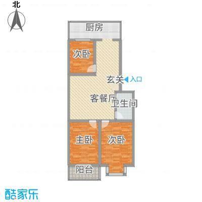 宝嘉龙庭113.00㎡1#楼南2#楼D户型3室2厅1卫1厨