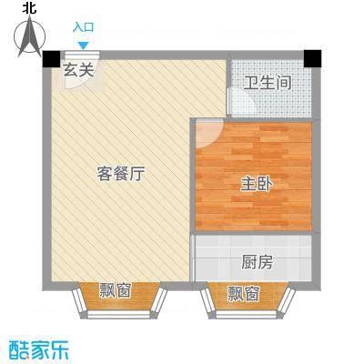 一栋洋房65.67㎡户型1室2厅1卫1厨