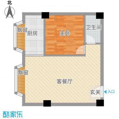 一栋洋房68.10㎡户型1室2厅1卫1厨