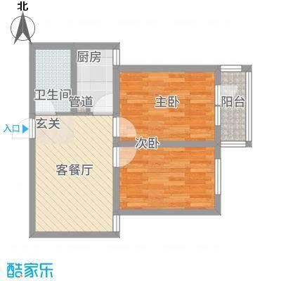 天馨逸家74.76㎡D2户型2室1厅1卫