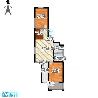 龙城佳苑112.56㎡F户型2室2厅1卫1厨