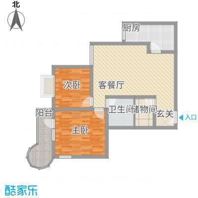 悦园豪庭14.50㎡10405西南户型2室2厅1卫1厨