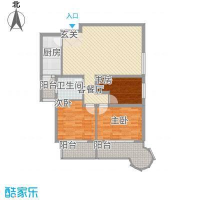 悦园豪庭128.00㎡128东南户型3室2厅1卫1厨