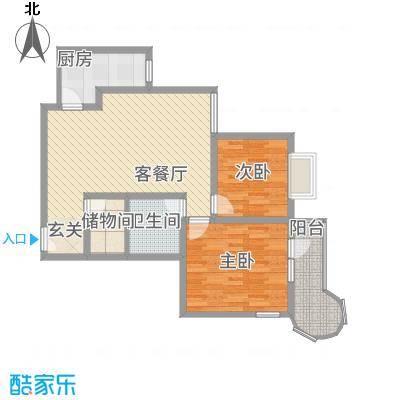 悦园豪庭14.50㎡10405东南户型2室2厅1卫1厨
