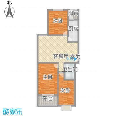 卡尔生活馆136.85㎡B户型3室2厅1卫1厨