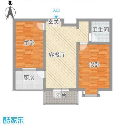 宝嘉龙庭3.82㎡F户型2室1厅1卫1厨
