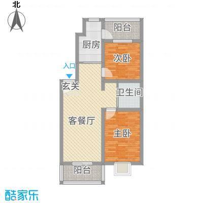 盘龙苑二期3.56㎡03户型2室1厅1卫1厨