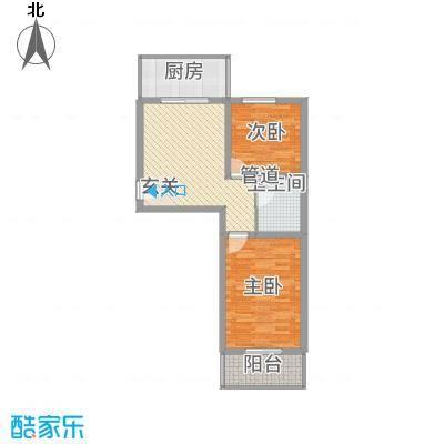 东秀苑三期81.26㎡二层两居户型2室1厅1卫1厨