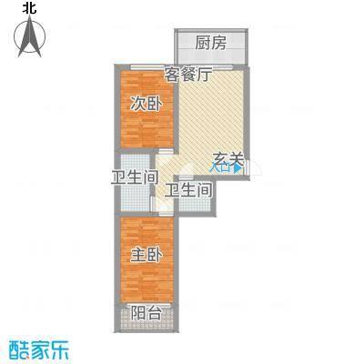 金典8号7.23㎡二单元C户型2室1厅1卫1厨