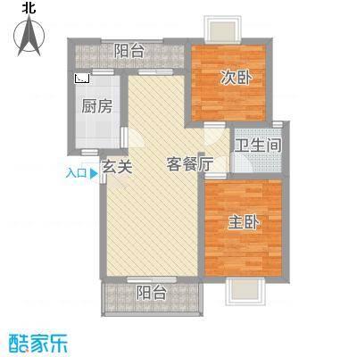 兴秀丽景花园83.38㎡B型户型2室2厅1卫1厨