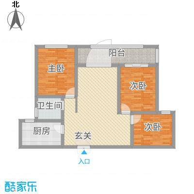 蓝柏湾115.00㎡高层B1B3号楼中间户C户型3室2厅1卫1厨-副本