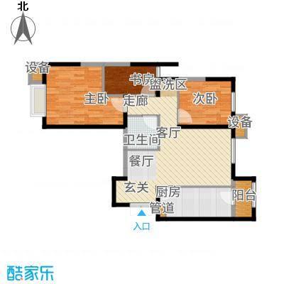 富力城・龙栖谷户型图1#楼户型(一) 3室2厅1卫-副本