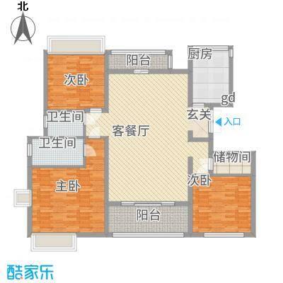 御沁园公寓164.35㎡F户型3室2厅2卫1厨-副本