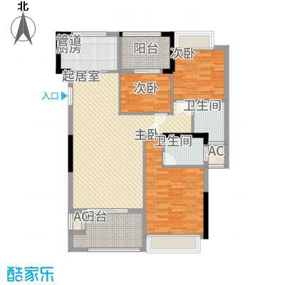 融耀江滨御景122.00㎡5#6#楼A1户型3室2厅2卫1厨-副本