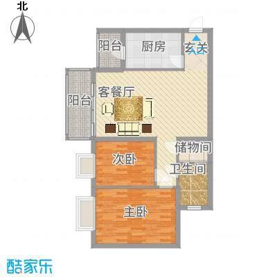 绿家园75户型2室2厅1卫1厨-副本