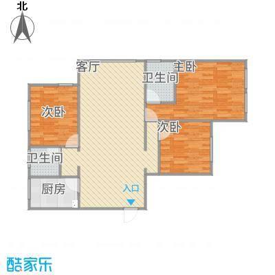 金色蓝庭90方A1户型两室两厅-副本