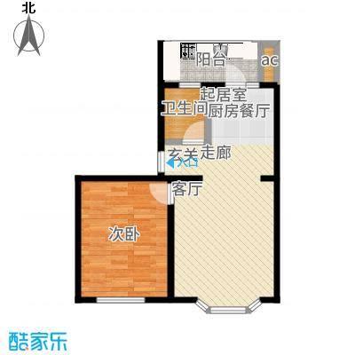 马坡花园63.20㎡一室两厅一卫户型-副本