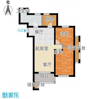 河海龙湾90.00㎡户型图户型2室2厅1卫-副本