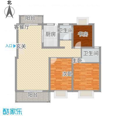 嘉逸・岭湾118.52㎡畔岛二期A户型3室2厅2卫1厨
