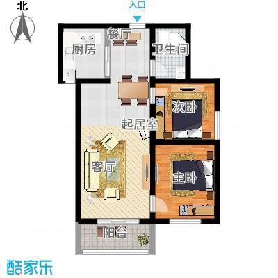锦江花园户型2室1卫1厨-副本