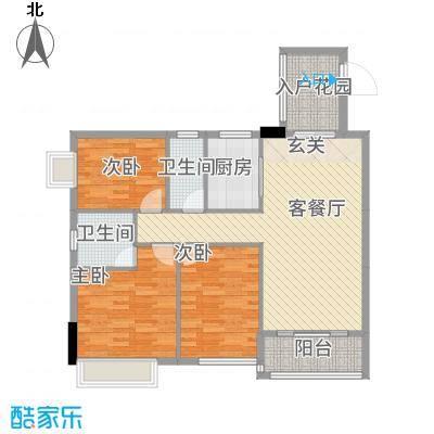 公园1号113.00㎡2梯02户型3室2厅2卫1厨