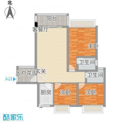 公园1号11.00㎡2梯03户型3室2厅2卫1厨