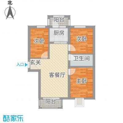 万达杰座78.44㎡B栋78.44平米户型3室1厅1卫1厨-副本