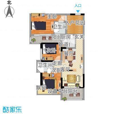 万江住宅89.00㎡万江住宅3室户型3室-副本