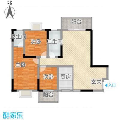 长虹百花沁苑125.62㎡D户型3室2厅2卫1厨