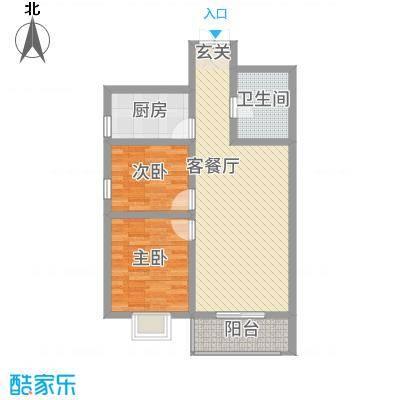 御景紫苑87.63㎡B户型2室2厅1卫1厨