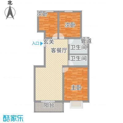 御景紫苑115.85㎡D户型3室2厅1卫1厨