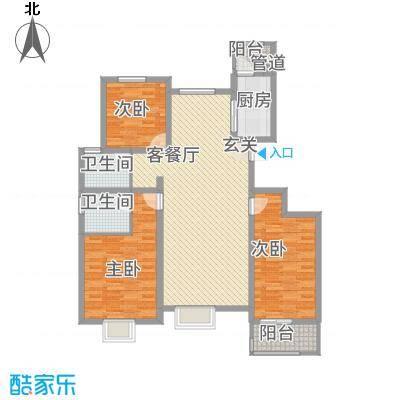 御景紫苑13.70㎡C单页户型3室2厅2卫1厨