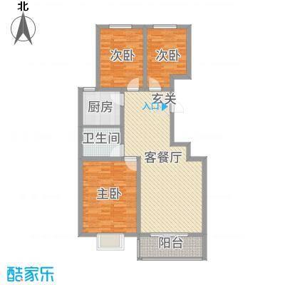 御景紫苑11.30㎡E户型3室2厅1卫1厨