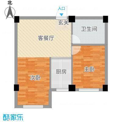 聚福园65.71㎡户型2室1厅1卫1厨