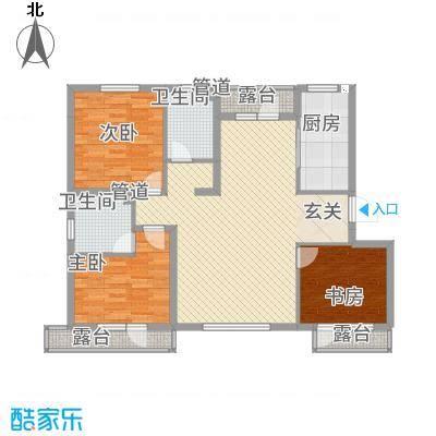 左岸公元134.53㎡A4标准层户型3室2厅2卫1厨