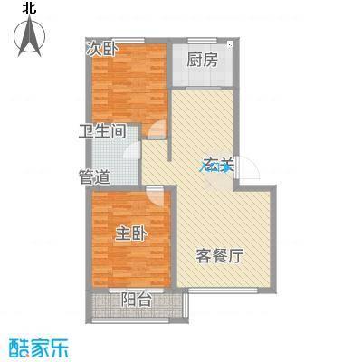 左岸公元83.00㎡D标准层户型2室2厅1卫1厨