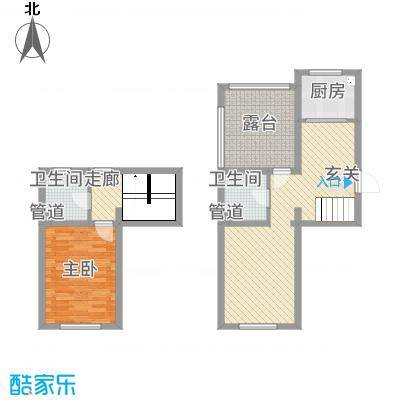 左岸公元3.57㎡S6五层跃层户型1室2厅2卫1厨