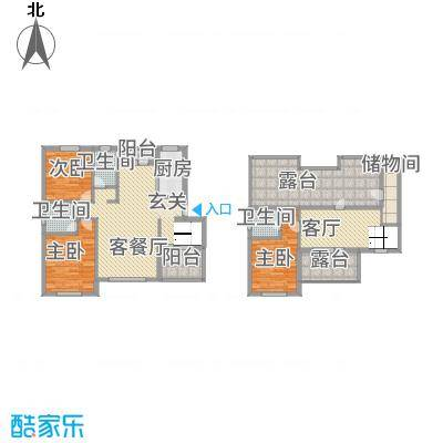 左岸公元172.00㎡A六层跃层户型3室3厅3卫1厨