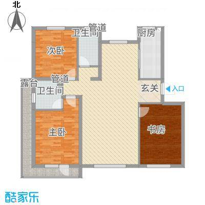 左岸公元133.00㎡A标准层户型3室2厅2卫1厨