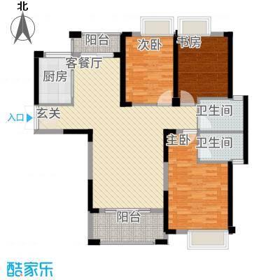 格林公馆132.00㎡3G2户型3室2厅2卫1厨