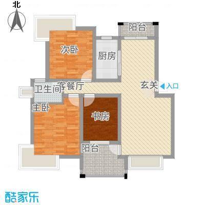 格林公馆115.00㎡3D3户型3室2厅1卫1厨