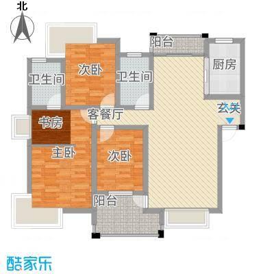 格林公馆133.00㎡4D2户型4室2厅2卫1厨
