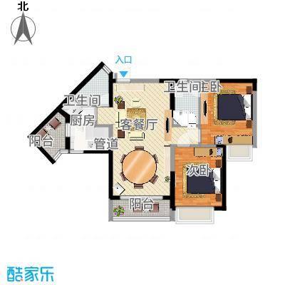 三正卧龙山一号84.00㎡三正卧龙山一号户型图3、4栋标准层C户型2室2厅2卫1厨户型2室2厅2卫1