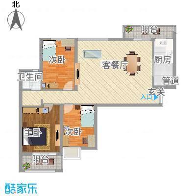淮安万达广场126.00㎡B2户型3室1厅1卫-副本