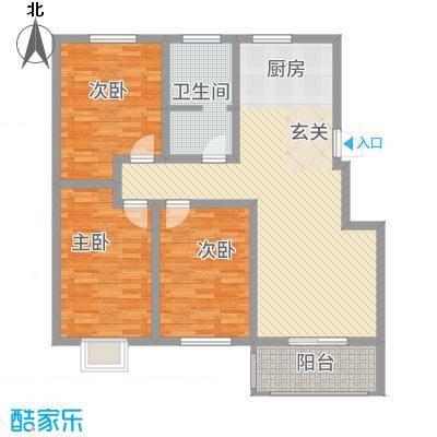 枫岭苑二期128.76㎡C户型3室2厅1卫1厨
