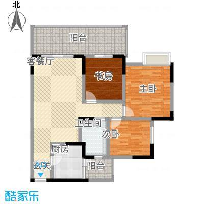 岭南神韵15.00㎡E3户型3室2厅1卫1厨